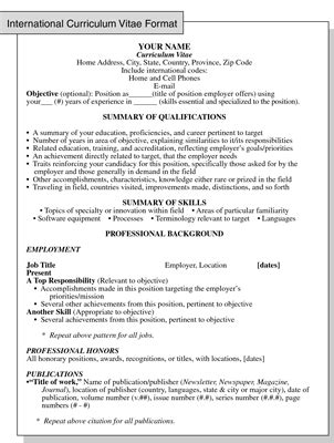 international curriculum vitae resume format for overseas