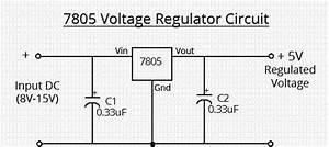 Simple 7805 Voltage Regulator Circuit