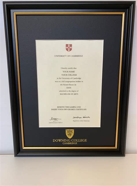 downing college certificate frame ryder amies
