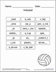 Volleyball Worksheet - 20 different volleyball related