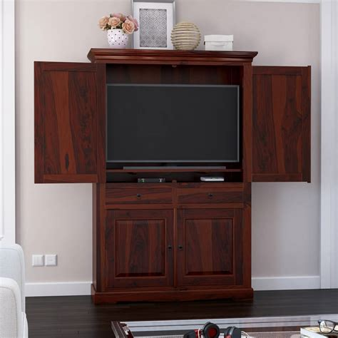 Armoire For Tv With Doors by Rossford 4 Door Solid Wood Rustic Large Tv Armoire Cabinet