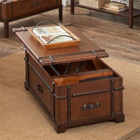 Steamer Trunk Coffee Lift Top Table » Gadget Flow
