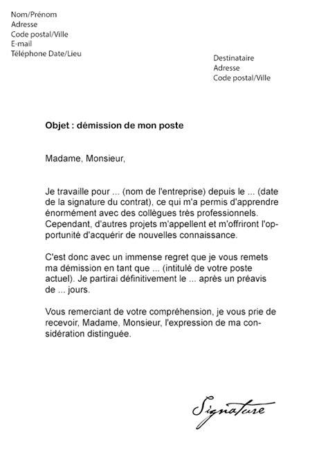 modèle lettre de démission contractuel fonction publique lettre de demission suisse application letter
