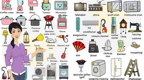 household appliances  equipment vocabulary  english