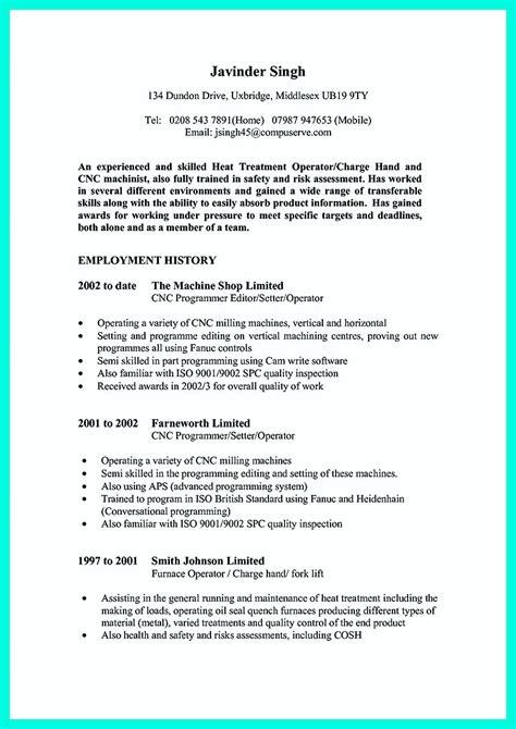 writing  qualifications  cnc machinist resume