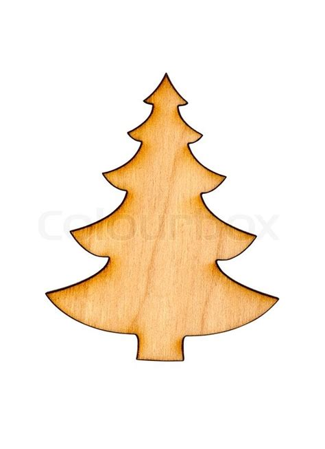 wooden christmas tree decoration isolated  white