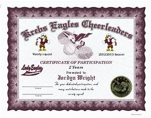Full color cheerleading certificates for Cheerleading certificates