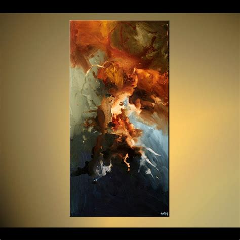 abstract painting vertical home decor painting earth tones 5792