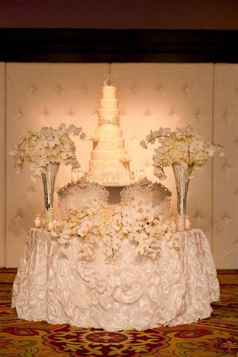 White Lush Sweetheart Table With Cake Pedestal Wedding