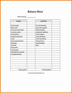 Blank balance sheet template choice image template for Household balance sheet template