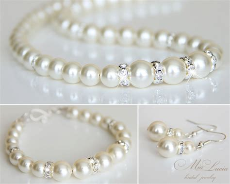 Wedding Jewelry Sets For Brides : Bridal Jewelry Set Swarovski Pearl Bridal Jewelry Set
