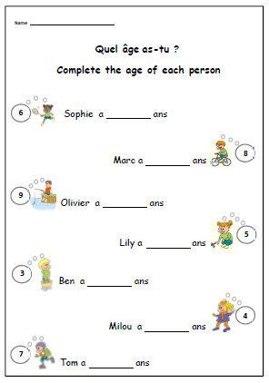 say your age french worksheet simple writing exercise to