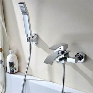 Robinet Cascade Baignoire : auralum robinet de baignoire en laiton cascade avec douche main salle de bains mont ~ Nature-et-papiers.com Idées de Décoration