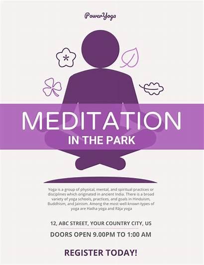 Meditation Poster Event Flyer Purple Simple Template