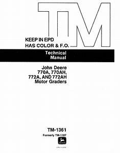 John Deere 770a 770ah 772a 772ah Motor Graders Tm1361