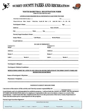 youth basketball registration fill printable fillable blank pdffiller
