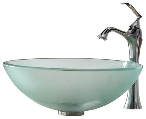 frosted glass vessel sink kraus frosted glass vessel sink and ventus faucet