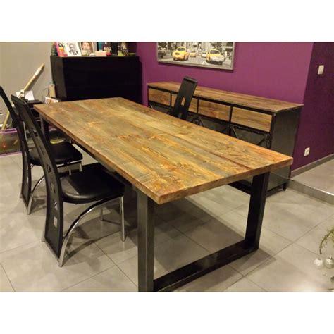 table de salle a manger industriel pied en acier plateau en sapin dor 233 m d 233 co industriel