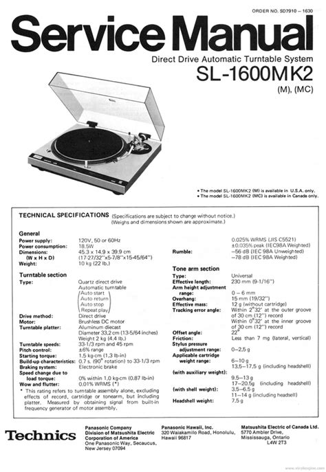 Technic Sl 1600 Wiring Diagram technics sl 1600 mk2 turntable service manual