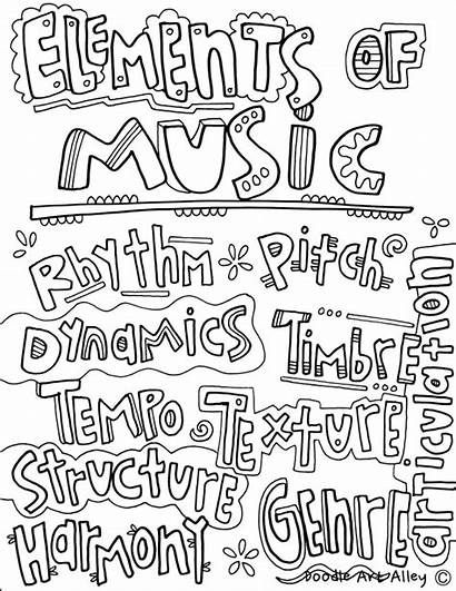 Coloring Pages Musical Elements Sheets Instrument Notes