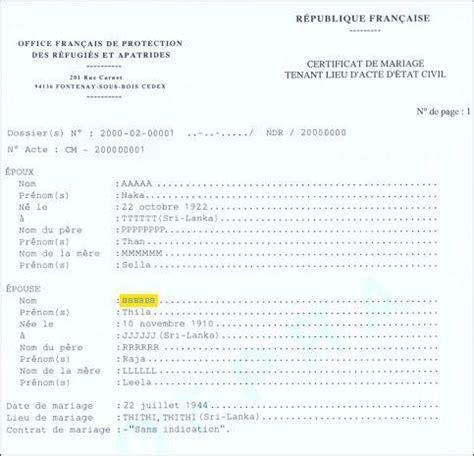 exemple acte de mariage formulaires 233 tat civil ofpra