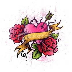 Heart with Roses Tattoo Designs