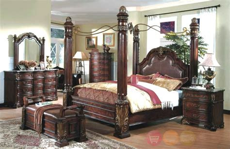 Wood Canopy Bedroom Sets by Details About Bowery Hill 5 King Mirrored Canopy