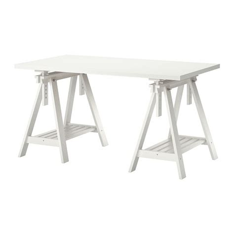 bureau treteau ikea linnmon finnvard table blanc ikea