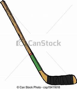 Hand drawn, vector, sketch illustration of hockey stick ...