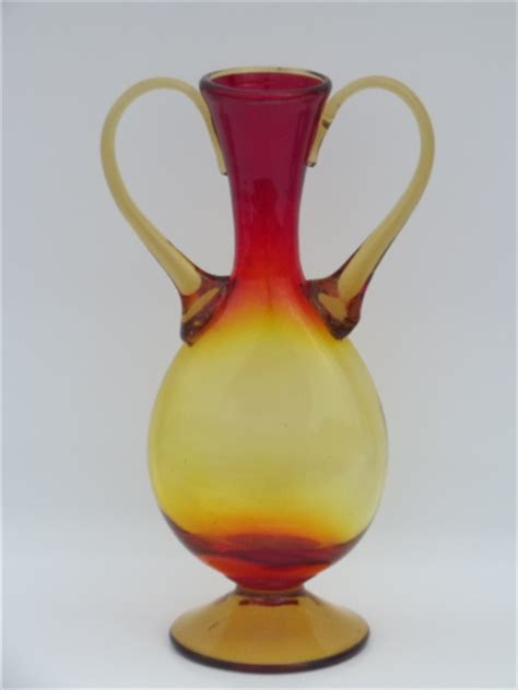 Vintage amberina shaded red yellow art glass urn vase w