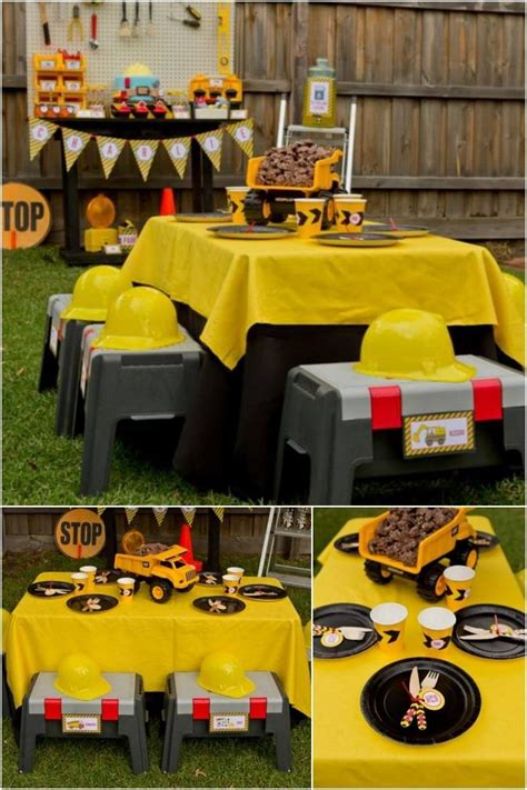 construction truck themed 1st birthday party planning ideas boys construction themed birthday party ideas spaceships