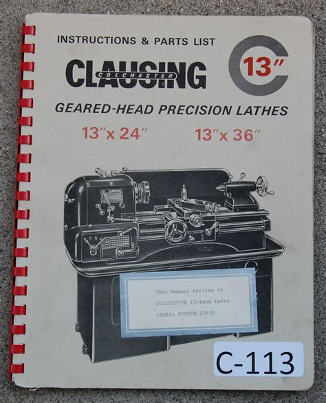 clausing colchester   lathe serial   operation parts manual  ebay