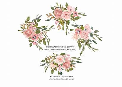 Blush Rose Gold Clipart Watercolor Flower Leaves