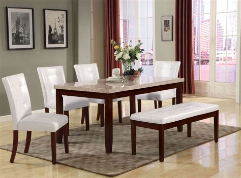 Britney White Marble Dining Room Set With White Side