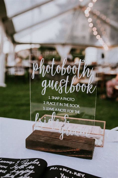 acrylic photo booth guest book sign  table signs