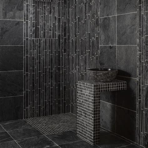 salle de bain carrelage ardoise dalles carrelage quartzite gris platinium 40x40 indoor by