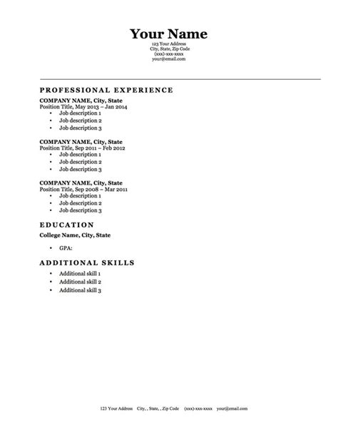 blank resume templates for microsoft word blank resume template microsoft word free resume templates