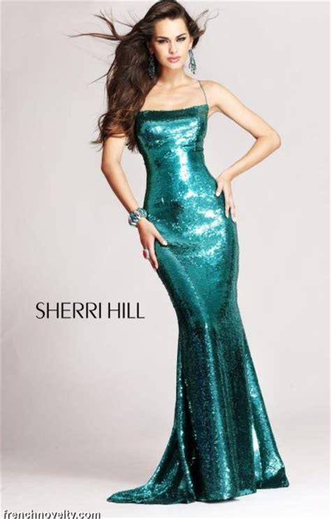 sherri hill long shimmery prom dress  open lace