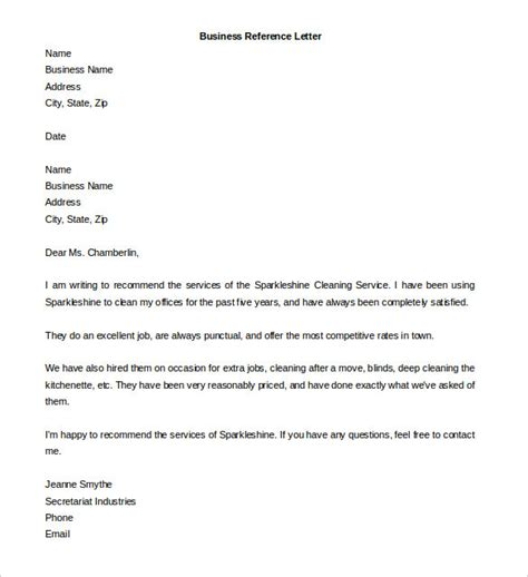 reference letter templates   word
