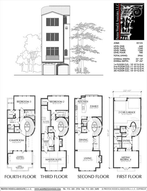 story townhouse plan  narrow lot house plans vintage house plans   plan