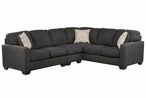Alenya Charcoal 3 Piece Sectional WLaf Loveseat Living