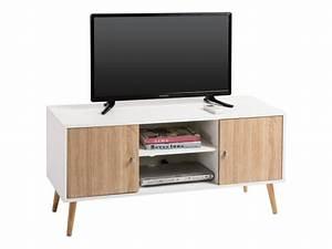 Meuble Tv Design Bois : meuble banc tv design murcia d cor blanc et bois conforama ~ Melissatoandfro.com Idées de Décoration