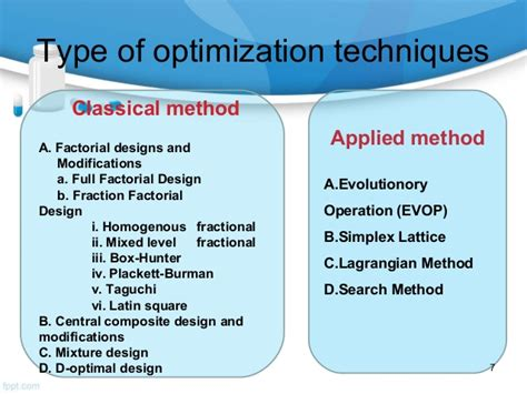 search optimisation techniques various applied optimization techniques and their in