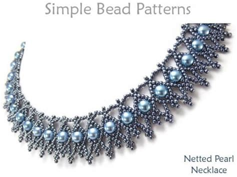Beaded Netting Necklace Pattern With Pearls Jewelry Making