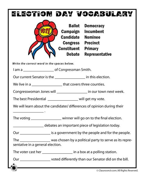 election day vocabulary worksheet woo jr activities