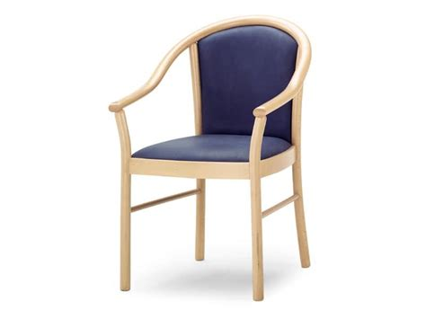 chair with wooden armrests upholstered seat and backrest