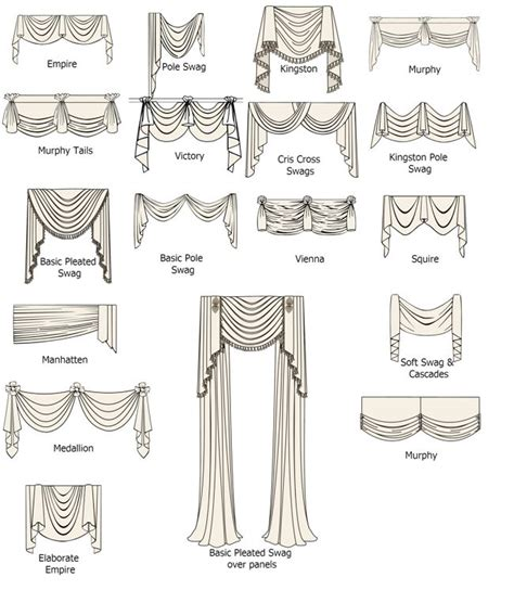 types styles of swags valances empire pole swag