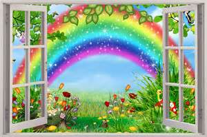 Wall Mural Decals Uk by Huge 3d Window View Childrens Fairytale Rainbow Wall