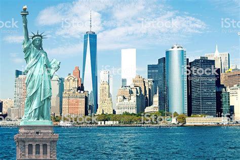 New York City Skyline Statue Of Liberty Stock Photo & More