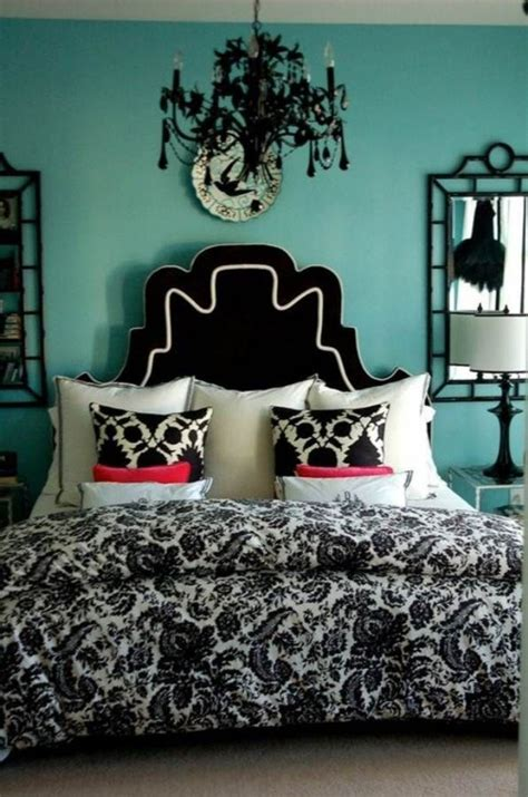 teal wall color for lavish bedroom ideas using black